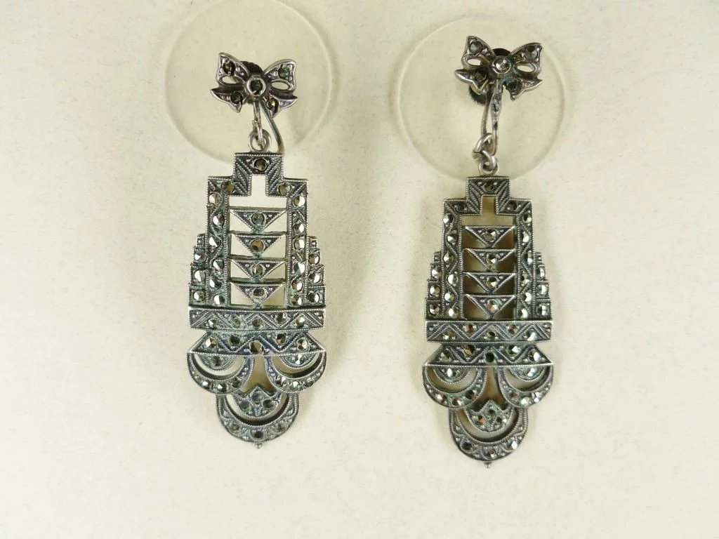 Art Deco Sterling Silver Marcasite Necklace Earring Set