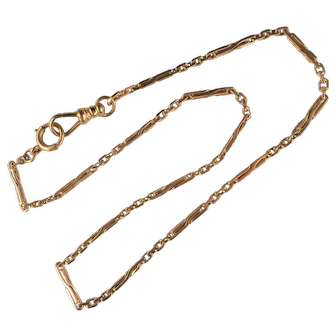 Vintage 14k Rose Gold Watch Chain Curved Link