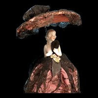 Germany antique half doll lamp with chantilly lace - original wiring!