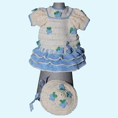Perfect Little Crochet Dress and Hat For Your Small Doll
