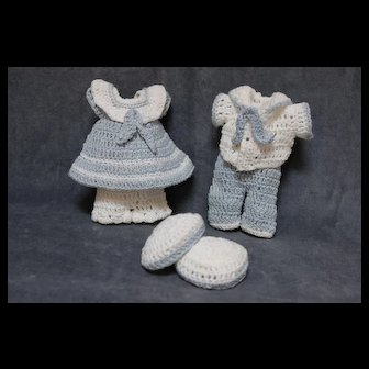 Darling Petite Matching Sailor Style Crocheted Outfits