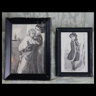 Two Antique Framed Black and White Prints