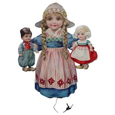 "Raphael Tuck & Sons, Ltd Cute ""The Dutch Dolly"" Paper Pull Toy"