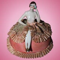 """""""Feisty""""  Flapper Half Doll on Elaborate Original Cushion"""