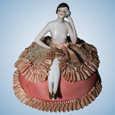 """Feisty""  Flapper Half Doll on Elaborate Original Cushion"