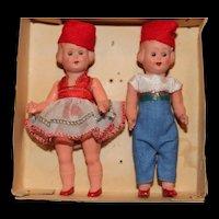 All Original Set of Two Little Italian 4 1/2 Inch Dolls In Original Box