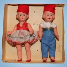 All Original Set of Two Little Italian 4 1/2 Inch Dolls In Original Box