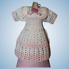 5 3/4 Inch Antique Crocheted Doll Dress