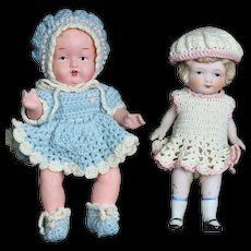 Two Vintage All Bisque Dolls, Made in Japan