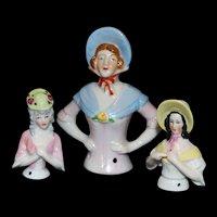 Three Antique German Hatted Half Dolls