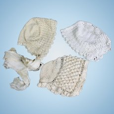 Three Antique Crocheted Bonnets