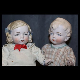 Pair of absolutely darling German all bisque characters