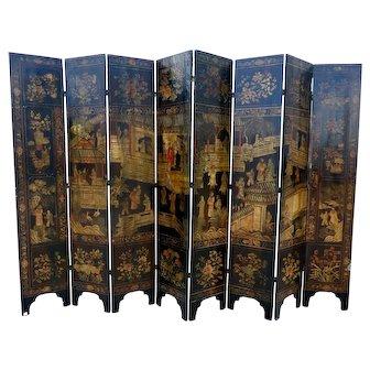 Chinese Ching Dyansty Coramandel 8 Panel Folding Screen