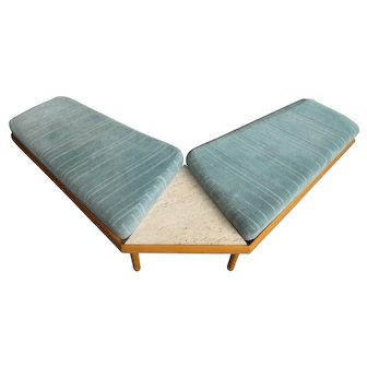Mid Century Modern Airplane Wing Bench With Marble Insert