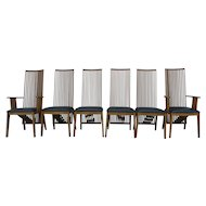 A Sibau Italian Architectural Dining Chairs Manner of Frank Lloyd Wright