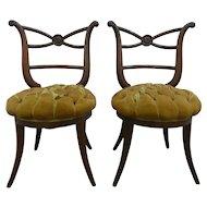 Pair Of True Hollywood Regency Greek Inspired Klismos Slipper Chairs