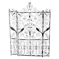 Magnificent 1920's Hand Wrought Iron Ornamental Interior Gate
