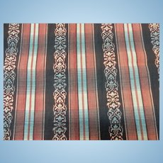 Antique striped paisley red and brown cotton Civil War era roller print #1