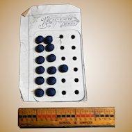 13 Antique blue crochet covered small buttons dolls women restoration