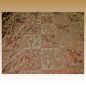Antique  Ca 1865 silk fabric embossed patterns dolls