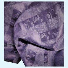 Antique unused silk taffeta fabric brocade vining flower print Dolls Ca 1865