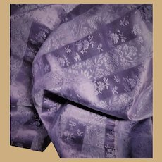 Antique unused silk taffeta fabric jacquard vining flower print Dolls Ca 1865