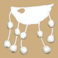 """Antique dangling applique bobbles 10 white silk 3/8"""" across dolls"""