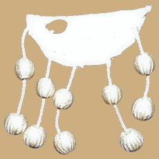 "Antique dangling applique bobbles 10 white silk 3/8"" across dolls"