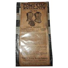 Antique paper pattern Ca 1880 unused domestic fashion pattern child