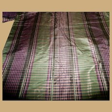 Antique plaid silk fabric  unusual colors dolls women restoration