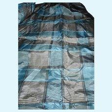 Antique Civil War pale blue plaid silk taffeta fabric with tarlatan lining Hurets Enfantines #1