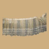3+ Yards antique muslin pleated lace edge dust ruffle restoration women dolls