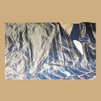 Antique 3 ruffles blue striped silk fabric large amount dolls restoration