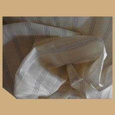 Antique 1820's silk linen fabric unused tiny stripes dolls enfantines women restoration