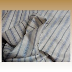 Antique 1850's blue white striped cotton fabric  Enfantine
