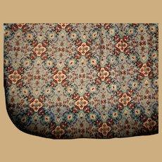 Antique Ca 1840 cotton fabric unique colors and pattern enfantine Rohmer