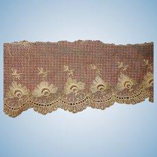 2 2/3 Yards antique embroidered net lace trim dolls women restoration