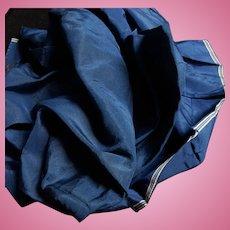 Antique Civil War era deep medium blue silk #1