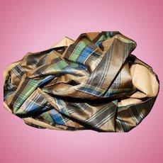 Antique Civil War plaid blue brown green silk and lining #2