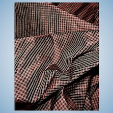 1 1/2 Yard Antique teeny plaid silk fabric dolls women restoration child #1