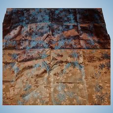 Antique iridescent jacquard silk fabric blue highlights dolls women restoration #1