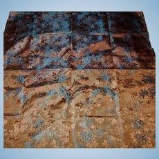 Antique iridescent jacquard silk fabric blue highlights dolls women restoration ruffle #1