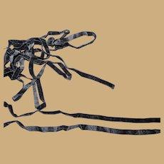 "Antique black velvet ribbon Ca 1880 3b yards 3/8"" wide dolls restoration"