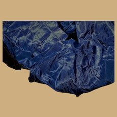 Antique blue silk taffeta ruffling with black velvet band 2 yards