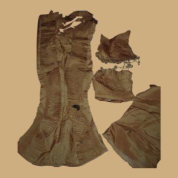 Antique tight knife pleats silk bosom front and cuffs dolls women restoration