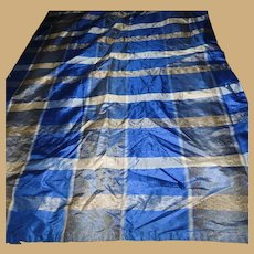 Antique blue Civil War silk taffeta fabric and lining dolls women restoration reenactments