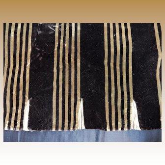 Antique narrow striped silk velvet tiny knife pleats dolls