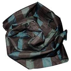 Vintage silk blue striped fabric Free Shipping