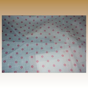 """Antique cotton semi sheer deep pink pattern on white unused 1800's 24"""" selvages"""