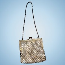 Vintage small rhinestone encrusted purse with chain dolls FREE SHIPPING